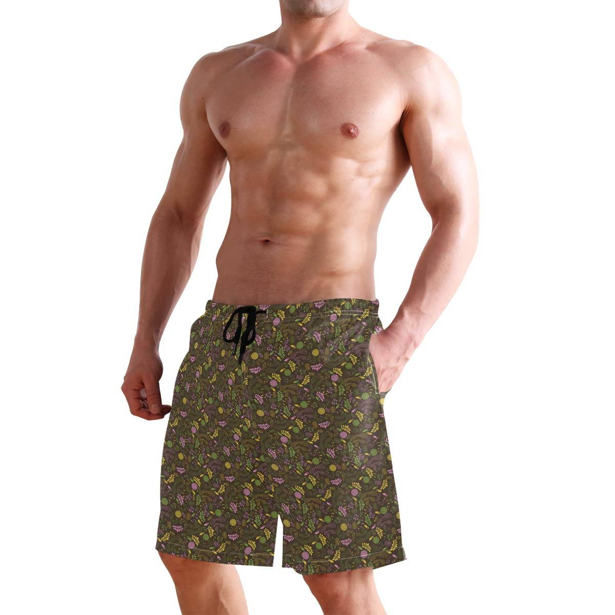 COVASA Mens Summer ShortsDoodle Blooming Foliage and Petals Flourishing Nature