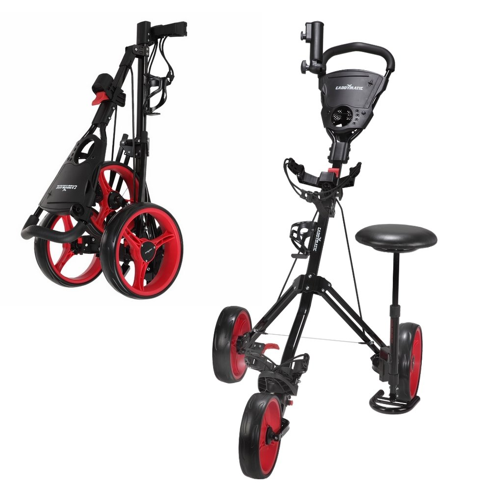 Caddymatic Golf X-TREME 3 Wheel Push Pull Golf Cart with Seat Black Red