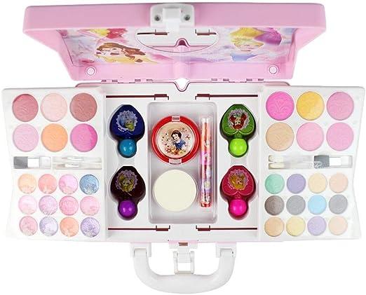 Blue-Yan Juguete cosmético para niñas, Kits de Maquillaje de Princesas Disney no tóxicos, Sombra de Ojos, Colorete, Lápiz Labial, Esmalte de uñas, Pincel de Maquillaje, Puff y más, 53 Piezas: Amazon.es: Hogar