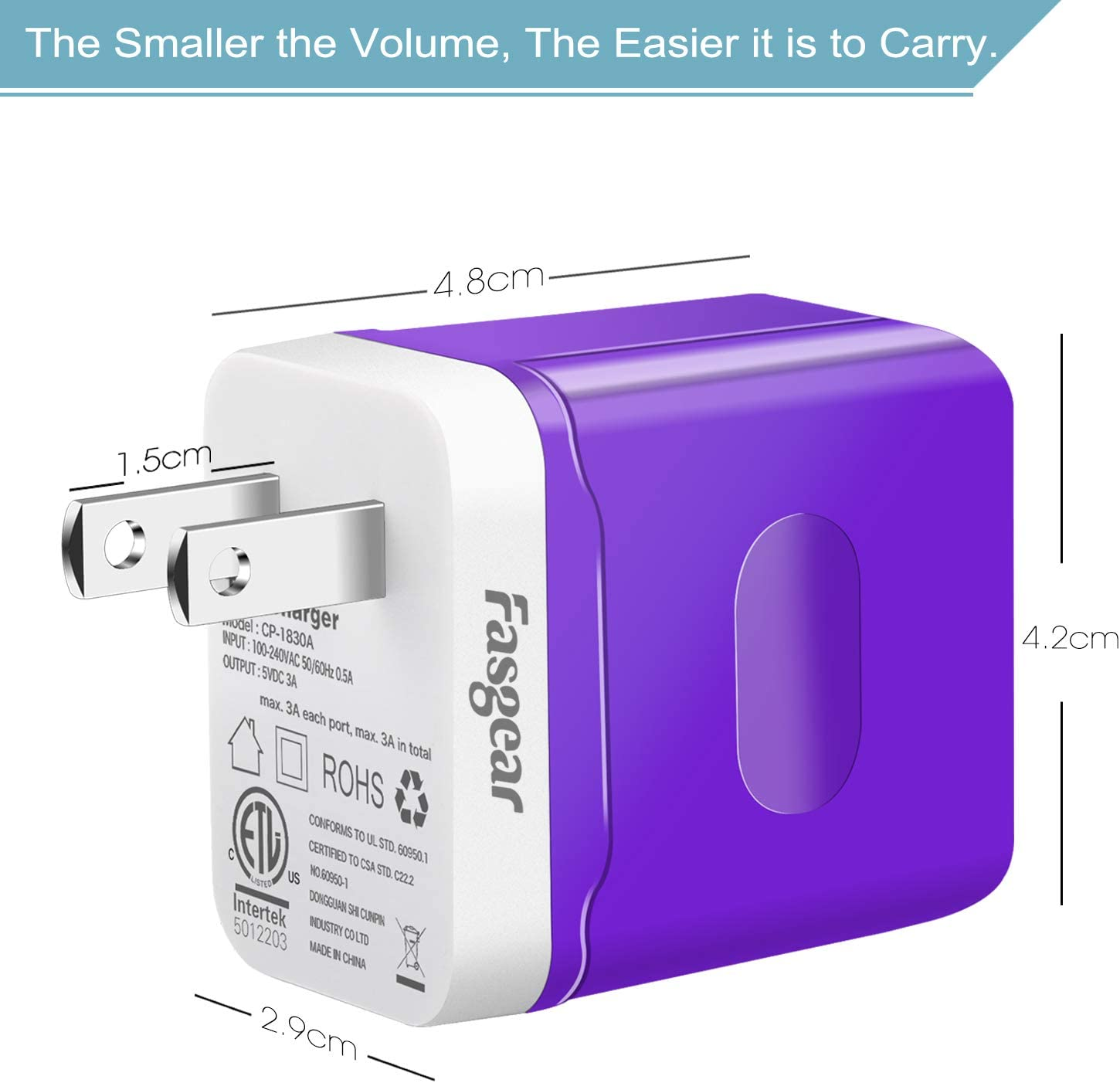 Blue,Green,Rose Fasgear 3 Pack 5V//3A Dual Port Home Travel Mobile Phone Charger Compatible with iPhone X//XS USB Wall Charger Galaxy S10//S9//S8 Note8 9 and More