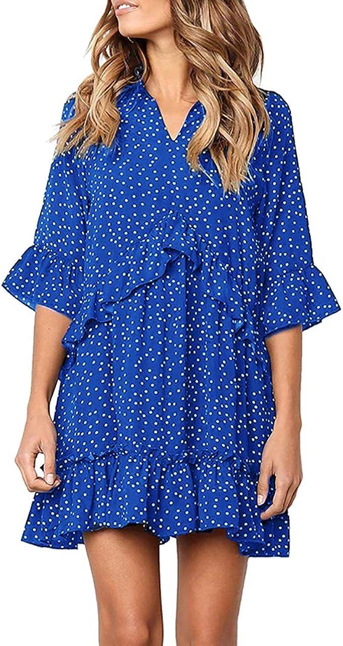 Yidarton Damen Kleider V-Ausschnitt Rüschen Punkte Sommerkleider