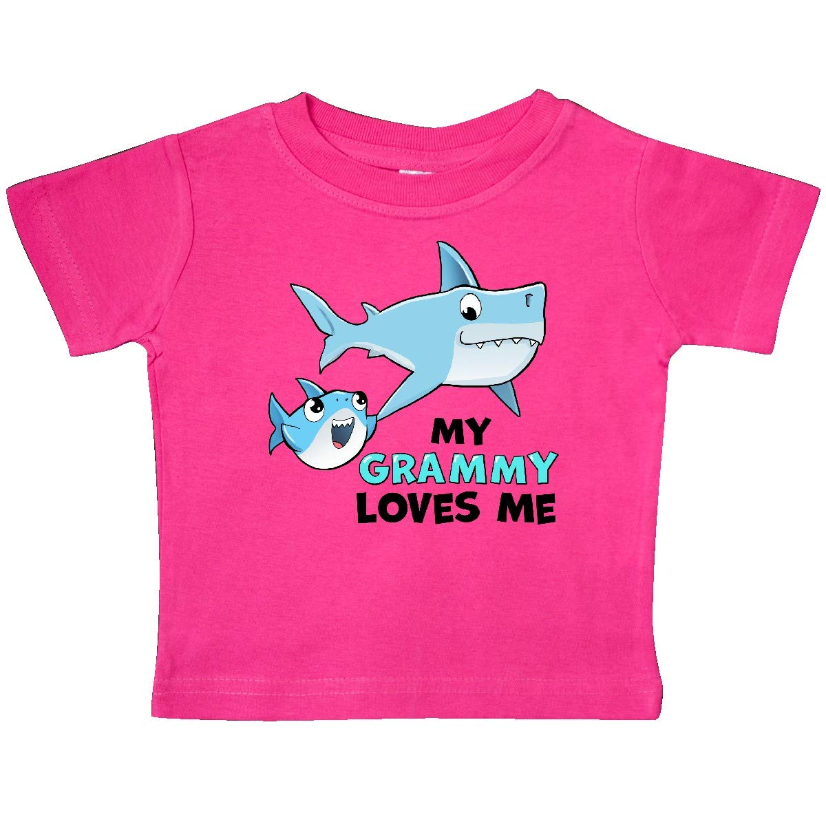 inktastic My Grammy Loves Me with Cute Sharks Baby T-Shirt