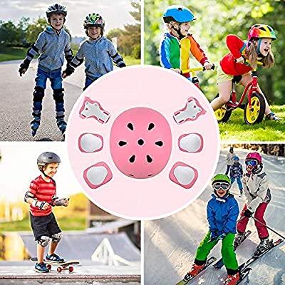 Kids Helmet Knee Pads for Kids 4-11 Years Wrist Elbow Knee Protector for Skateboarding Skating Scooter Rollerblading Cycling (Pink) : Sports & Outdoors