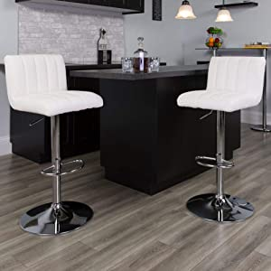 Flash Furniture 2 Pk. Contemporary White Vinyl Adjustable Height Barstool with Vertical Stitch Back/Seat and Chrome Base