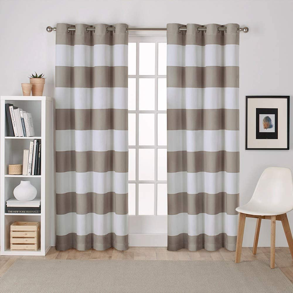 Exclusive Home Curtains Surfside Cabana Stripe Cotton Window Curtain Panel Pair with Grommet Top, 54x84, Taupe, 2 Piece