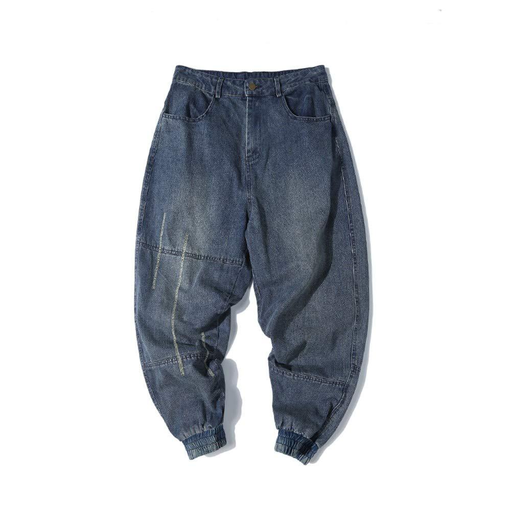 EVEORSSRA Jeanshosen Herbst schließen verbindliche Jeans Lange Hosen Retro Harajuku Männer beiläufige lose Haren Hosen Gezeiten