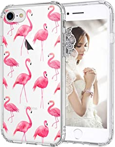 MOSNOVO Tropical Flamingo Pattern Designed for iPhone SE 2020 Case/Designed for iPhone 8 Case/Designed for iPhone 7 Case - Clear