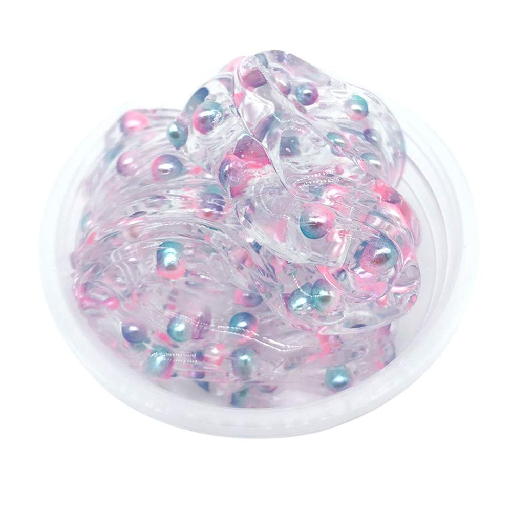 Gbell Colorful Beads Slime Mixing Fluffy Putty Toy, Squishy Mud Crystal Stress Relief Toy Scented Kids Clay Toy for Girls Boys Adults,Super Soft,Birthday Gifts,1Pcs/5Pcs 60ML (Pink)