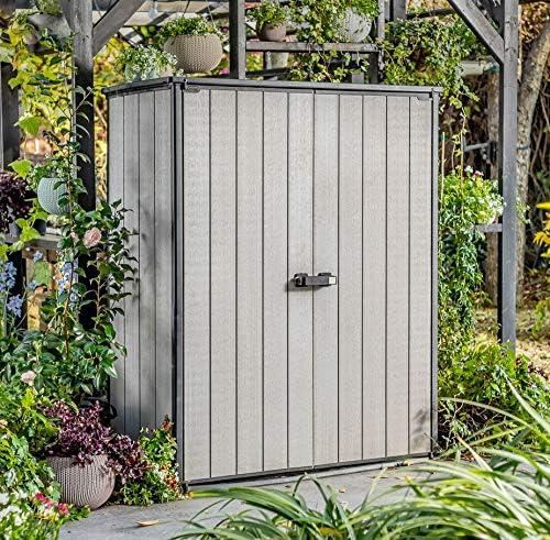 Koll Living Dispositivo Armario/Jardín Hogar High Store – 1,5 m³ – con Doble Puerta – con Aspecto de Sistema de Ventilación – WPC Terrazas de Suelos: Amazon.es: Jardín