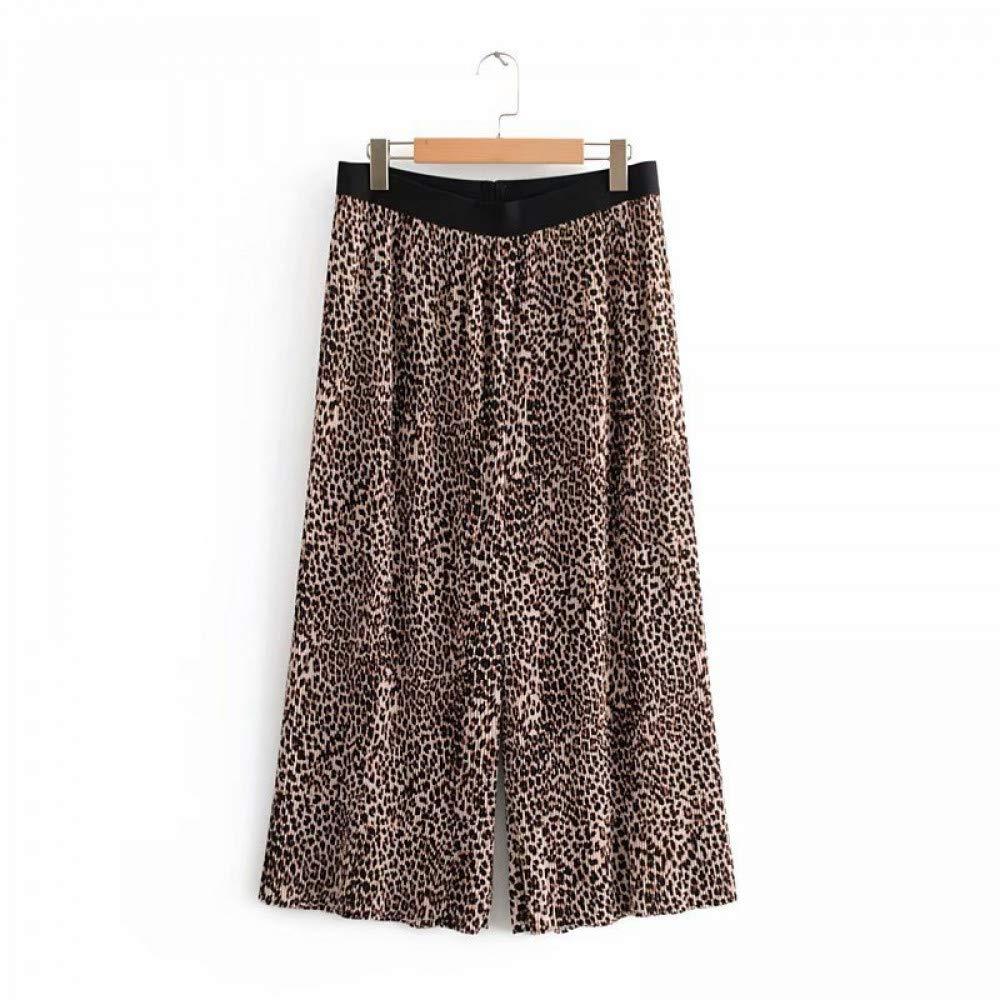 Xiaocilao Herbst und Winter weiten Schlauch gerade Hose hohe Taille Leopard Print neun Punkte lässige Hose lässige Hose
