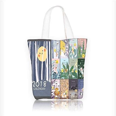 ae3caad3e6ef Amazon.com: Canvas Zipper Tote Bag Printed landscape illustration ...