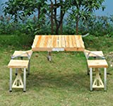 #7: Outsunny 4 Person Wooden Portable Compact Folding Suitcase Picnic Table Set With Umbrella Hole