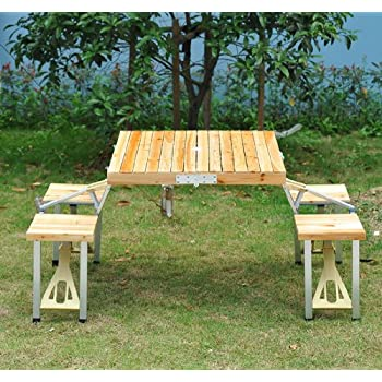 Outsunny Portable Lightweight Folding Suitcase Picnic Table W/ Built In  Chairs