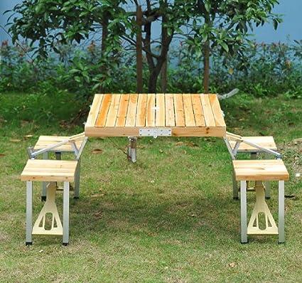 Amazon.com : Outsunny 4 Person Wooden Portable Compact Folding ...