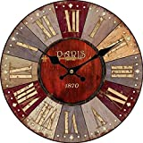 Upuptop Vintage Paris Country Wood Indoor Wall Clock Home Decor Antique Look Colorful Red 16inch