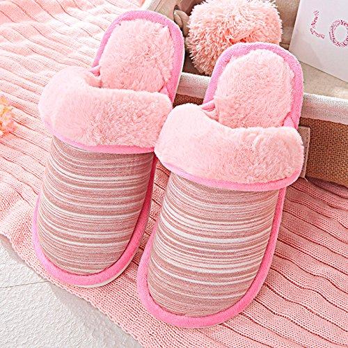 LaxBa Lhiver au chaud, lhiver Chaussons Chaussons moelleux Accueil chaleureux en hiver, chaussures antiglisse Chambre Chaussons Pink40-70 (convient de porter de 38-39)