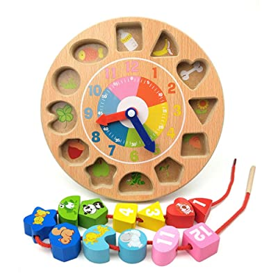 Children's Educational Clock Beaded Building Block Toy Early Education Puzzle Stringing Toy Clock Toy Multifunctional Fine Movement Training PX: Home & Kitchen