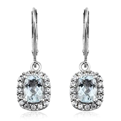TJC Women Platinum Plated 925 Sterling Silver Aquamarine Drop Dangle Earrings DAcRBYe3K