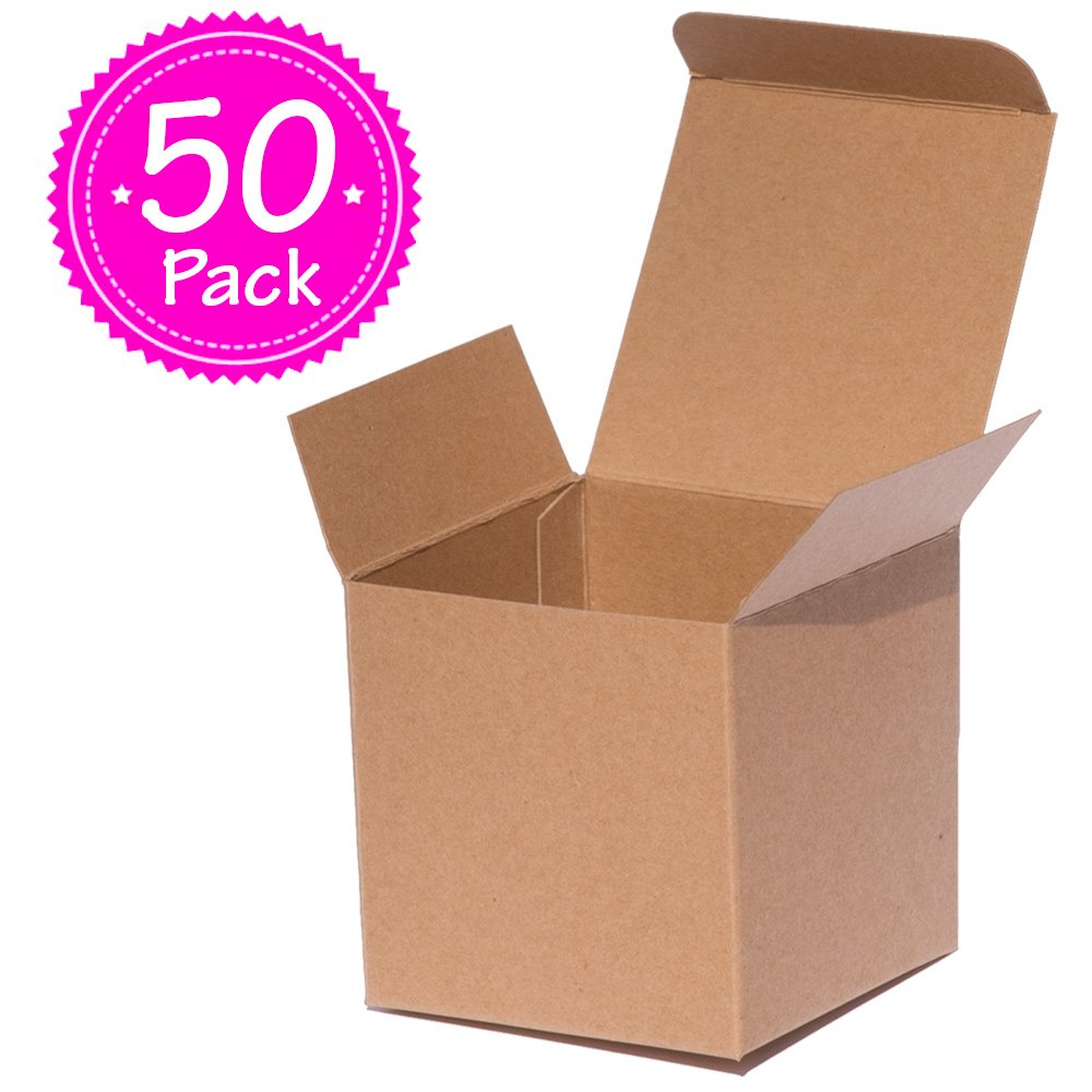 ANGELCRAFT Brown Kraft Gift Box 3x3x3 inch Cupcake Box, Wedding Party Favor, Bakery Box, Holiday Gift Box, Party Boxes 50-Pack