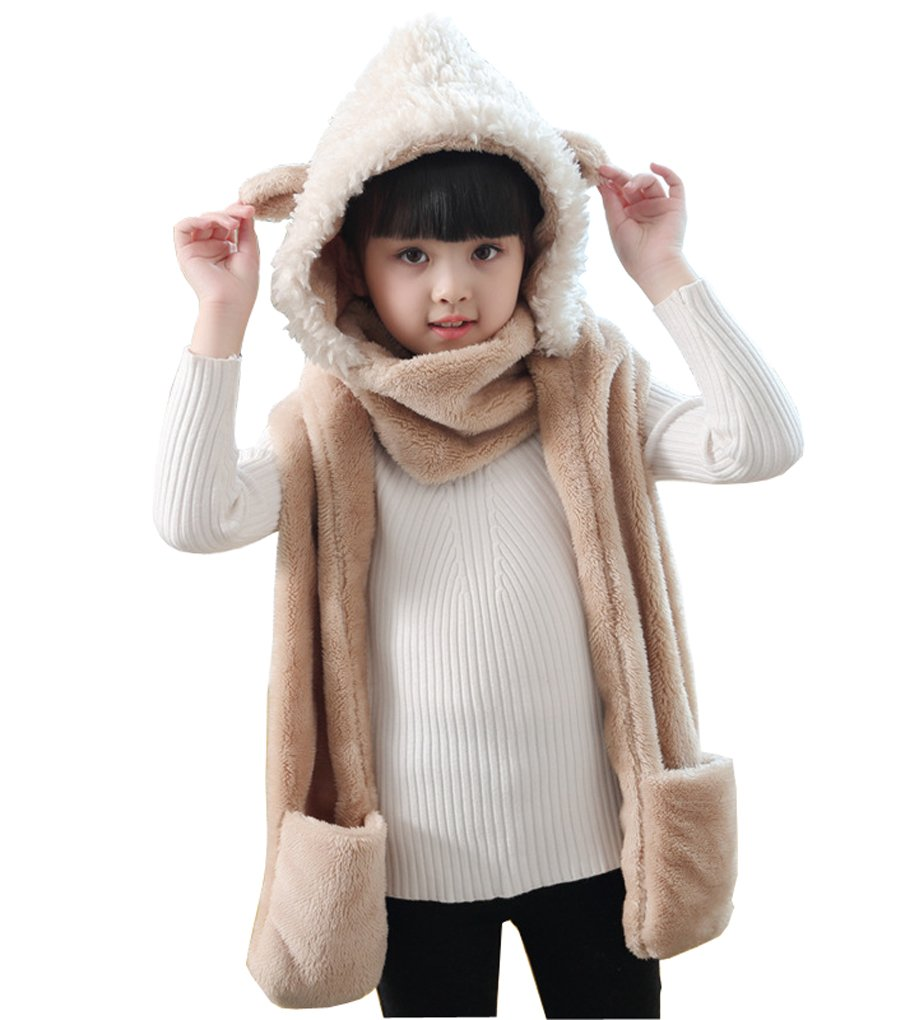 Kids Toddler Cute 3 in 1 Hoodie Hat Winter Fluffy Full Hood Hat with Gloves Scarf