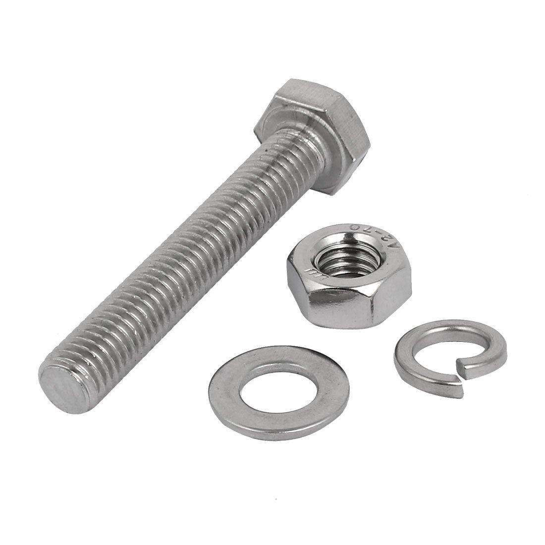 10 Set M8x50mm vis T/ête Hex acier Inox 304 Kit Assortiment /Écrou rondelle