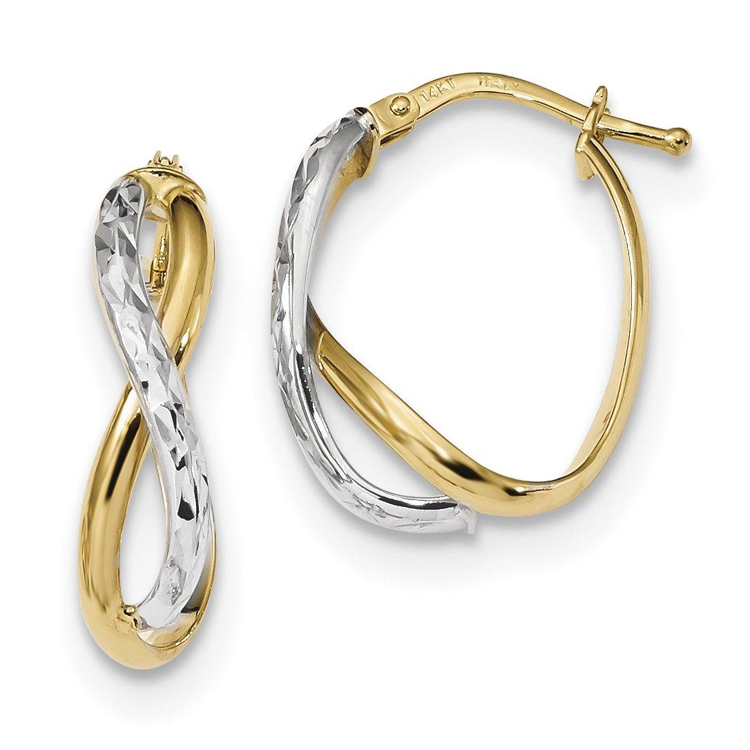 ICE CARATS 14k Two Tone Yellow Gold Hoop Earrings Ear Hoops Set Fine Jewelry Gift Set For Women Heart