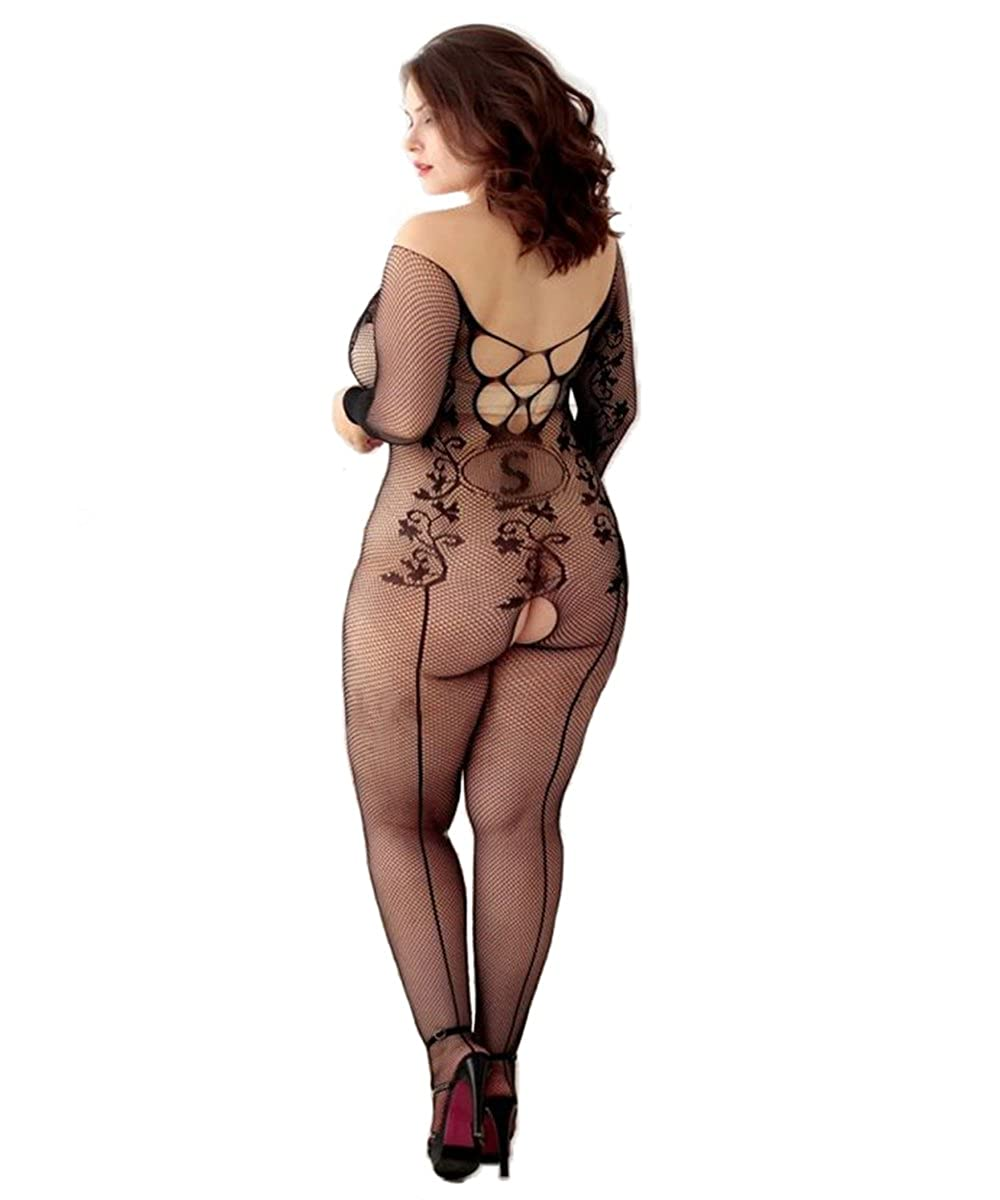 c2c2239e4a9 ... Curbigals Womens Long Sleeves Crotchless Bodystocking Plus Size Open  Crotch Fishnet Lingerie Plus)