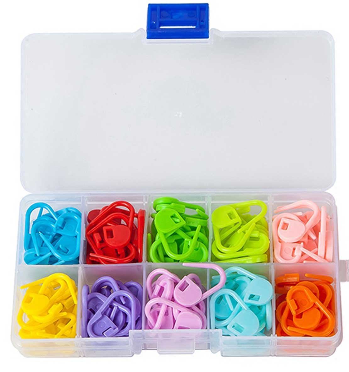 Knitting Stitch Markers - LeBeila Split Locking Knit Stitch Counter Needle Clips Supplies, 120 Pieces Colorful Plastic Crochet Marker Yarn Count Rings Mini Safety Pins Accessories (120Pcs, 10Colors) LBL-stitch-11122