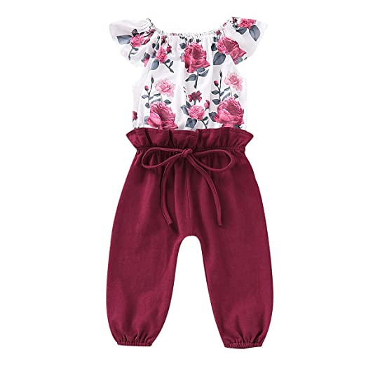018d18663487 Toddler Baby Girl Jumpsuit Ruffle Sleeve Bodysuit Floral Romper Overall  Outfits (Red