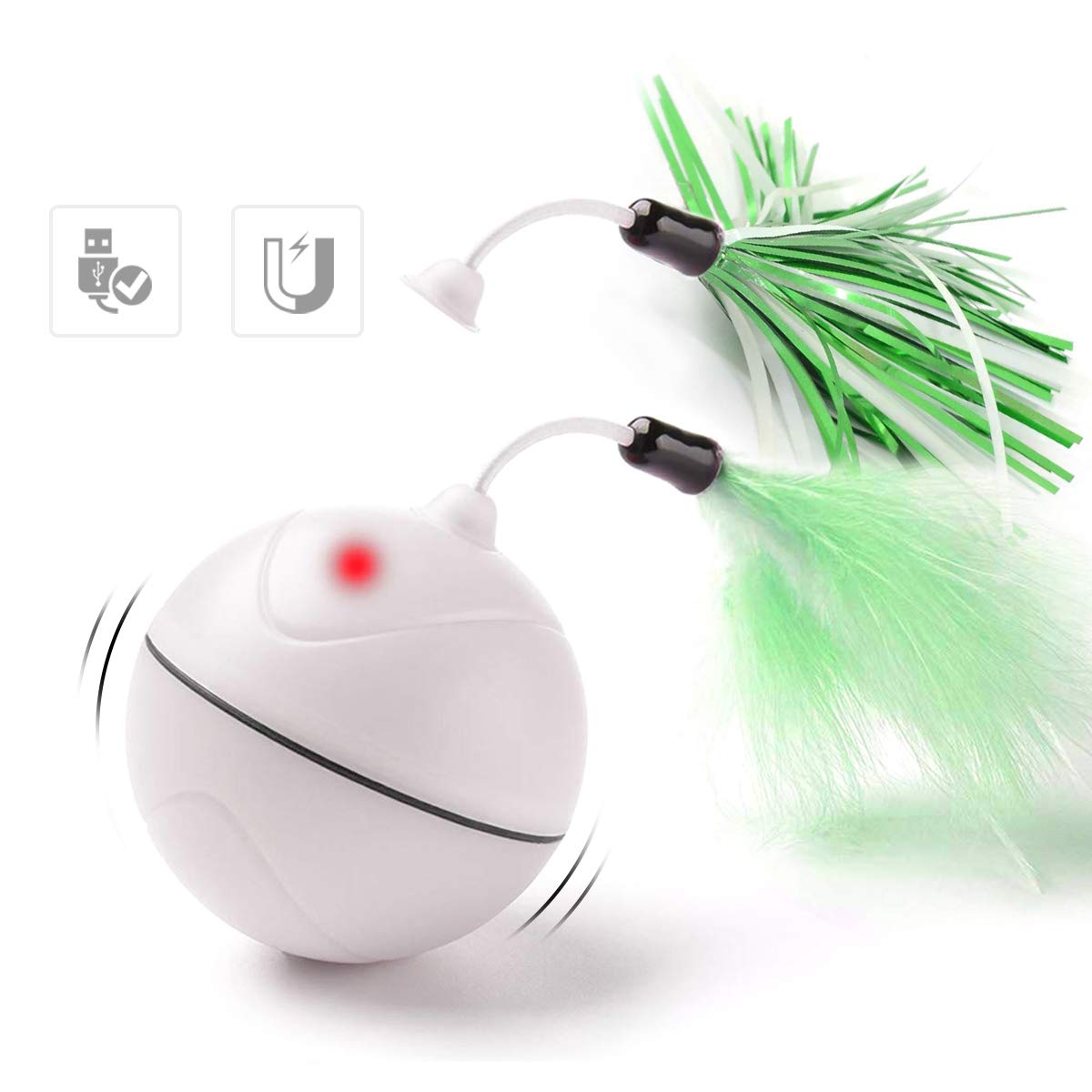 Petleso Interactive Cat Toy Ball - Cat Toys Interactive Automatic Rolling Ball with Feather and LED Light Electric Cat Feather Toys, White
