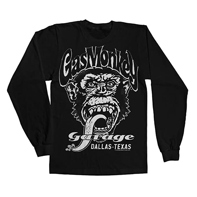 Officially Licensed Merchandise Gas Monkey Garage - Dallas Texsas Long Sleeve Tee (Black),