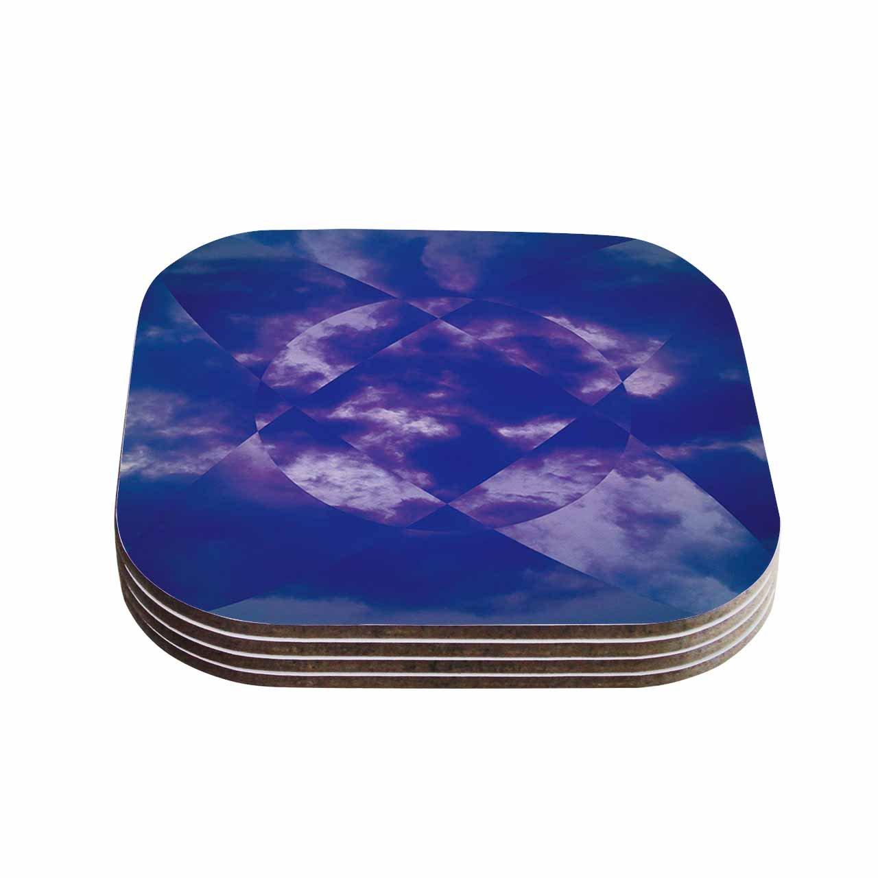 Multicolor 4 x 4 KESS InHouse Matt EklundSpectral Purple Blue Coasters Set of 4