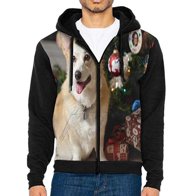 Shenghong Lin Corgi Wearing Glasses Design Mens Black Hoodie Sweatshirt Sportswear Jackets With Hoodies