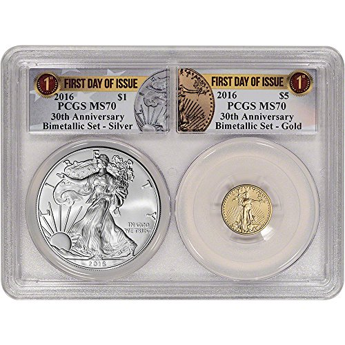 American Eagle Pcgs Coin Set - 2016 American Gold & Silver Eagle BU First Day of Issue MS70