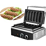 VEVOR Crispy Machine 1550 Wattage Commercial Lolly Waffle Maker 6 Pcs Non-stick Electric Waffle Machine Sausage Hot Dog Machine With Six Grid
