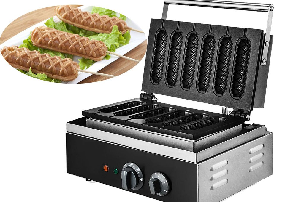 VEVOR Crispy Machine 1550 Wattage Commercial Lolly Waffle Maker 6 Pcs Non-stick Electric Waffle Machine Sausage Hot Dog Machine With Six Grid Food Process (Six Grid)