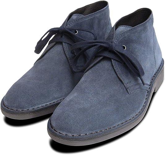 Kebo Blue Suede Mens Jeans Desert Boots
