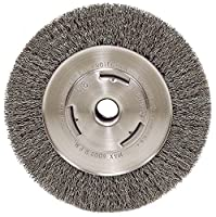 "Weiler 6655 Vortec Pro 7"" Wide Face Bench Grinder Wheel, 0.14"" Crimped Steel Wire Fill, 5/8"" Arbor Hole"