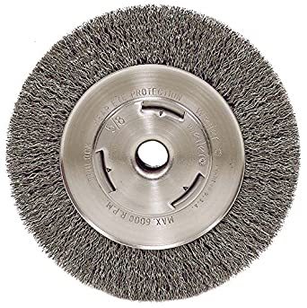 5//8 Arbor Hole 0.14 Crimped Steel Wire Fill Weiler 6655 Vortec Pro 7 Wide Face Bench Grinder Wheel