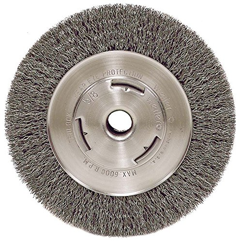 Weiler 6655 Vortec Pro 7'' Wide Face Bench Grinder Wheel, 0.14'' Crimped Steel Wire Fill, 5/8'' Arbor Hole