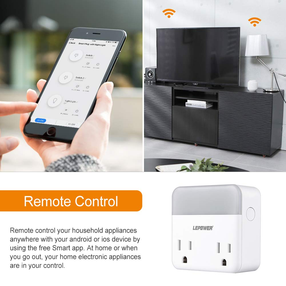 Compatible with  Alexa//Echo//Google Home//IFTTT Warm Voice Remote Control Smart Outlet Smart Plug with LED Night light LEPOWER WiFi Dual Smart Socket ,Timing Function//No Hub Required//FCC Listed