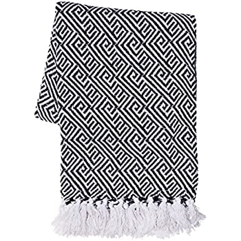 """SLPR 100 Cotton Indoor/Outdoor Machine Washable Throw (50"""" x 60"""", Black) 