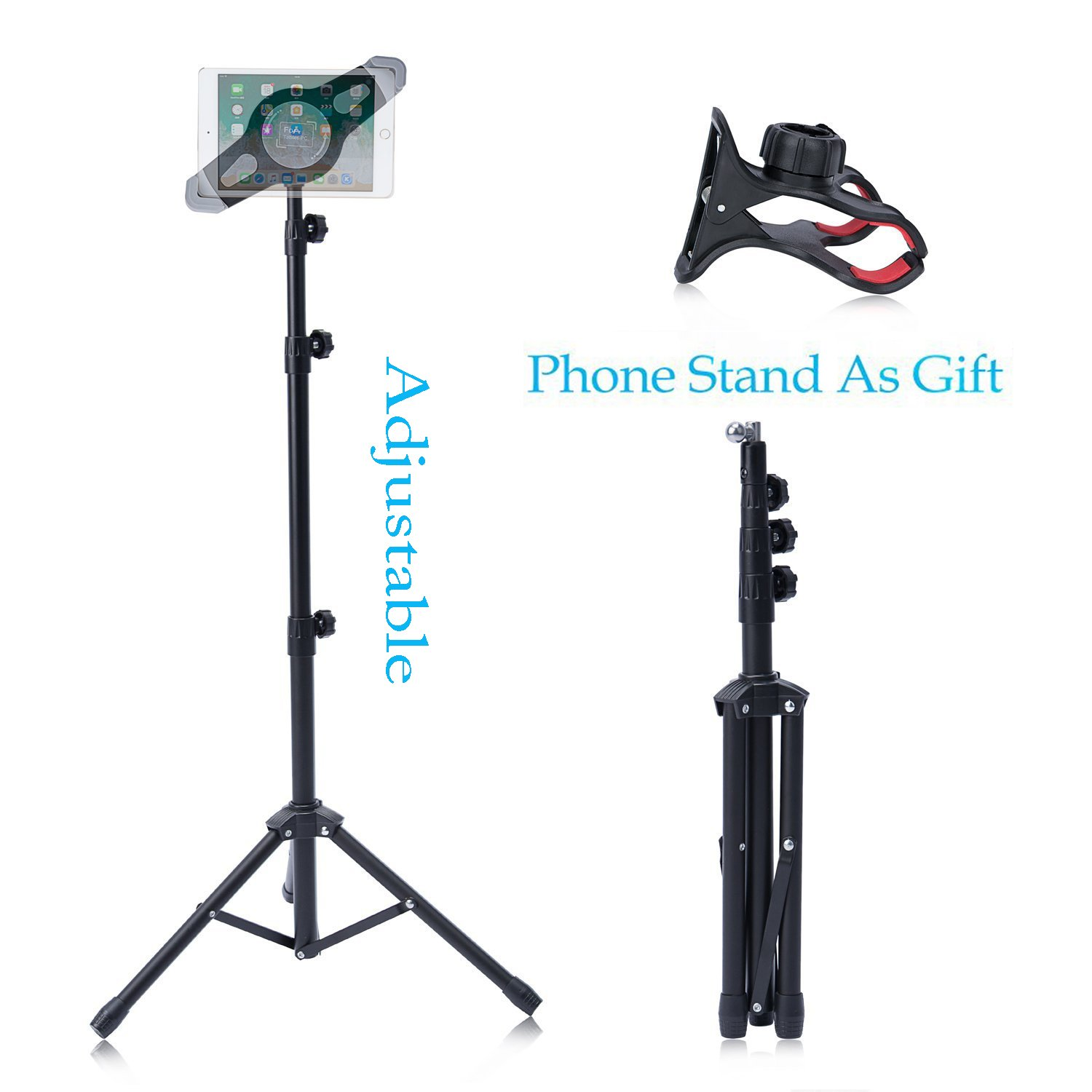 T-Sign Reinforced IPad Tripod Stand Mount - Foldable Floor Tablet Holder, Height Adjustable 360 Rotating Stand for iPad Mini/Air and More 7'' to 12'' Tablets, Carrying Case and Phone Holder As Gifts