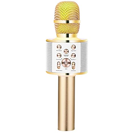 VERKB Wireless Karaoke Microphone Speaker Q10 Plus, Portable Bluetooth  Singing Machine for iPhone Android Smartphone Home Birthday Party(Light  Gold)