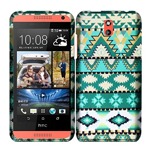 HR Wireless Rubberized Design Cover Case for HTC Desire 610 - Retail Packaging - Mint Green Aztec