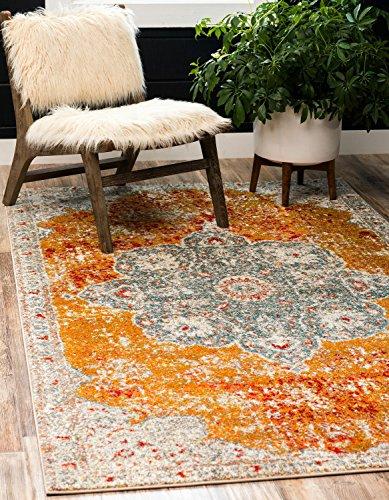 Unique Loom Rosso Collection Vintage Traditional Distressed Orange Area Rug (8