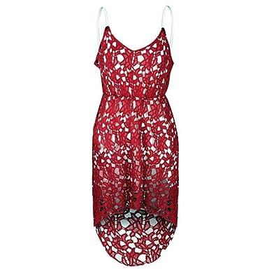 COCO clothing Damen Vokuhila Kleid ärmellose Schlinge Spitzenkleider ...