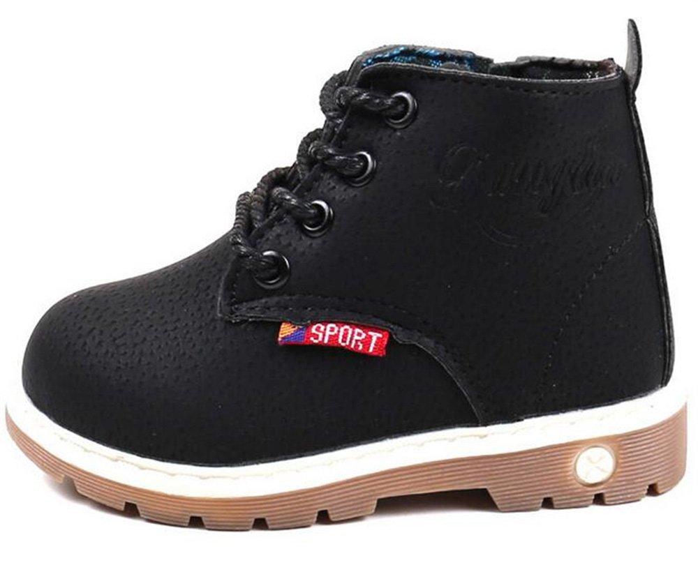 WUIWUIYU Kids' Boys' Girls' Ankle Boots Lace up Zipper Fashion Short Booties Black Size 11 M