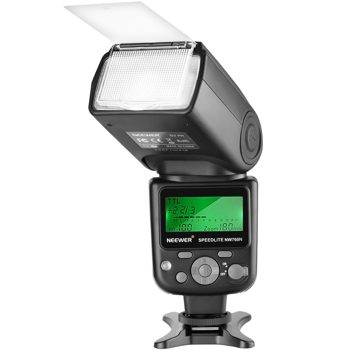 Neewer NW760 Remote TTL Flash Speedlite with LCD Display for Nikon D7200 D7100 D7000 D5500 D5300 D5200 D5100 D5000 D3300 D3200 D3100 D700 D600 D500 D90 D80 D70 D60 D50 and Other Nikon DSLR Cameras by Neewer