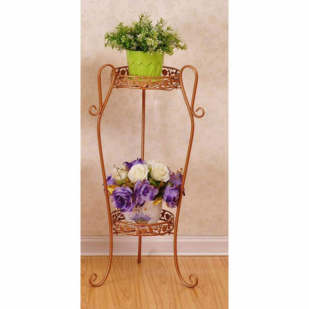 Yellow Large Gifts & Decor Plant Stand Shelf Flower Racks Iron Art Multi-Layer Flower Stand Balcony Living Room with Flower Pot Rack Indoor Shelf Three-Dimensional Flower Stand (color   Yellow, Size   Large)
